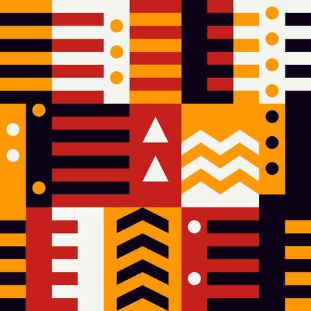 Geometric seamless pattern. Bauhaus style background. Modular grid print. Stripe, line, arrow, circle, rectangle, block ornament. Trendy contemporary geo wallpaper. Modern abstract vector design Illustration