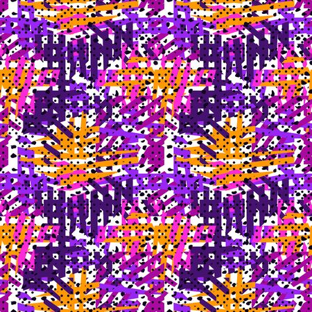 Bright modern seamless pattern. Geometric mixed texture surface print. Repeated irregular chaotic grain, stripe motif. Vivid contemporary design texture. Summer colors vector abstract background