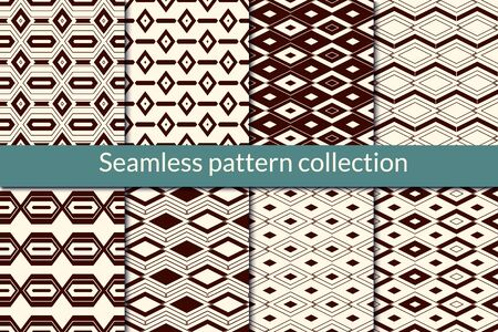 Diamond seamless pattern collection. Geometric design background set. Outline rhombuses, lozenges, zigzag lines print kit. Geo wallpaper vector bundle. All ornaments were added in swatches palette Illustration