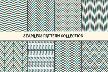 Zigzag lines seamless pattern collection. Classic geometric design background set. Zig zag, chevron, herringbone print kit. Geo wallpaper vector bundle. All ornaments were added in swatches palette