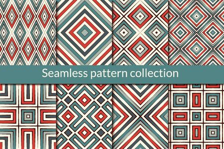 Ethnic seamless pattern collection. Folk colorful design backgrounds set. Eclectic print kit. Geometric ornamental motif. Boho chic geo vector bundle. All ornaments were added in swatches palette