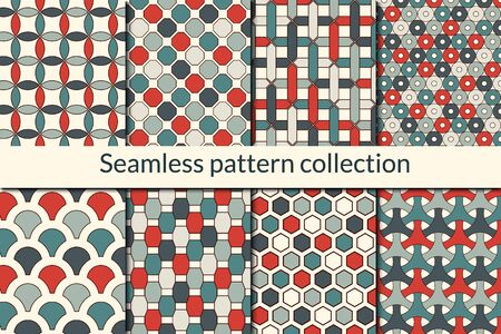 Classic geometric seamless pattern collection. Geo design background set. Maze lines, hexagons, scale, circle, diamond print kit. Abstract vector bundle. All ornaments were added in swatches palette