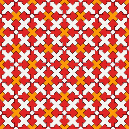 Ancient seamless pattern. Oriental tracery window ornament. Arabesque mosaic surface print. Repeated crosses motif background. Eclectic ornamental wallpaper. Vector abstract digital paper