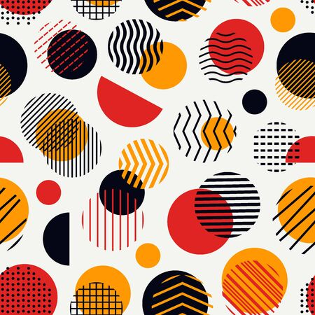 Circle, polka dot, stripe seamless pattern. Mixed texture irregular chaotic shapes print. Modern memphis stile geometric background. Bold trendy contemporary geo wallpaper. Abstract vector ornament