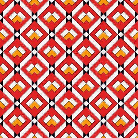 Diamond grid seamless pattern. Ethnic, tribal surface print. Geometric ornament. Repeated rhombuses background. Ornamental folk wallpaper. Geo vector abstract illustration