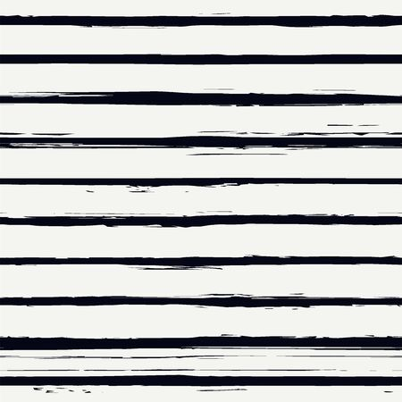 Brush strokes seamless pattern. Freehand horizontal stripes print. Repeated rough edge ink lines background. Simple classic geometric motif. Trendy grunge design. Vector abstract modern wallpaper Vettoriali
