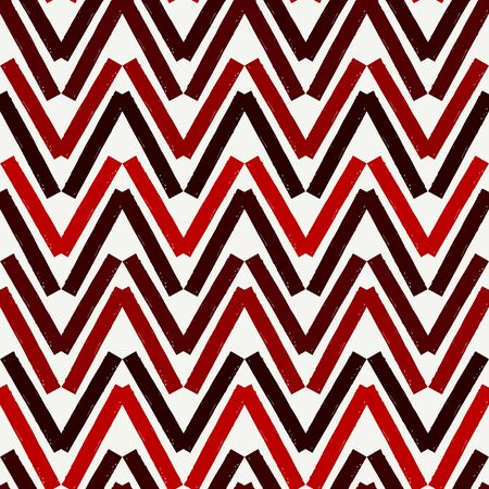Brush strokes seamless pattern. Freehand horizontal zigzag stripes print. Repeated chevron lines background. Simple classic geometric ornament. Trendy grunge design. Vector abstract modern wallpaper