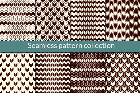 Herringbone seamless pattern collection. Geometric design background set. Zig zag, arrow, chevron geo print kit. Knitted effect wallpaper vector bundle. All ornaments were added in swatches palette
