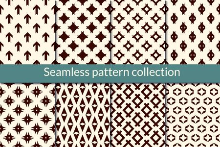 Minimal geometric seamless pattern collection. Simple geo design background set. Mini star, diamond, arrow motif print kit. Modern wallpaper vector bundle. All ornaments were added in swatches palette