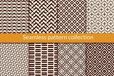 Classic geometric seamless pattern collection. Geo design background set. Triangle, circle, zig zag, diamond, cross print kit. Abstract vector bundle. All ornaments were added in swatches palette