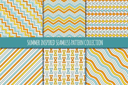 Summer inspired seamless pattern collection. Classic geometric design background set. Zigzag, chevron, pinstripe, wavy line print kit. Geo vector bundle. All ornaments were added in swatches palette