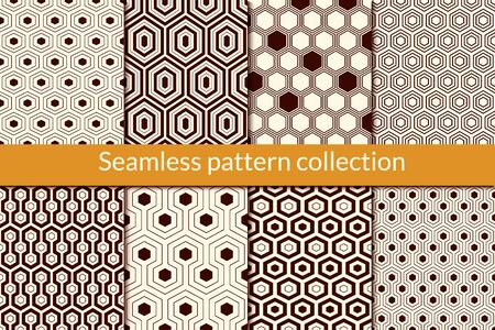 Honeycomb, hexagon seamless pattern collection. Geo design background set. Classic geometric mosaic tiles print kit. Ornament abstract vector bundle. All ornaments were added in swatches palette Illustration