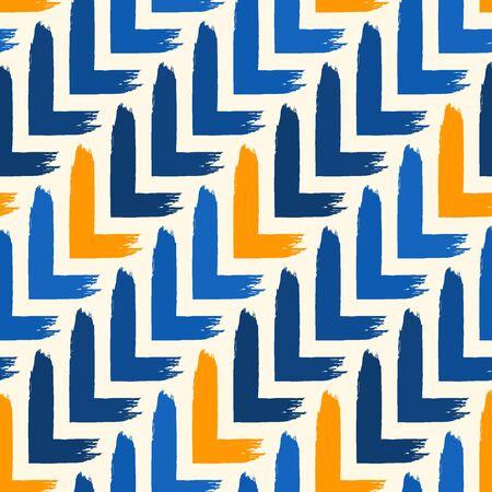 Paint brush seamless pattern. Freehand grunge design background. Diagonal parquet tile flooring motif ornament. Trendy handdrawn geometric print. Modern artistic hand drawn abstract vector wallpaper