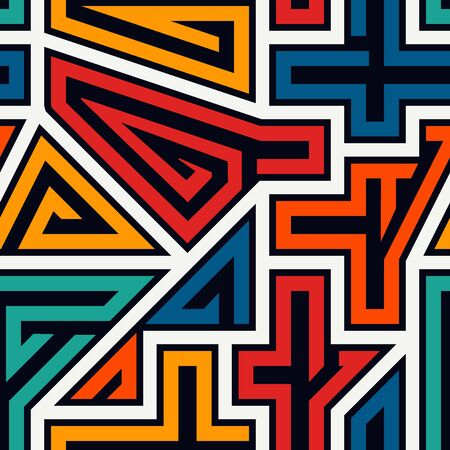 Bright ethnic seamless pattern. Tribal style surface print. Repeated irregular geometric shapes ornament motif. Vivid geo maze design wallpaper. Vector funny artistic abstract background
