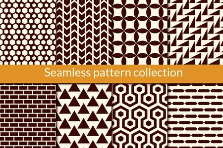 Classic geometric seamless pattern collection. Geo design background set. Hexagon, triangle, brickwall, arrow, circle, zig zag motif print bundle. All ornaments were added in swatches palette