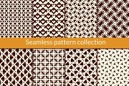 Minimal geometric seamless pattern collection. Simple geo design background set. Mini triangle, arrow motif print kit. Ethnic wallpaper vector bundle. All ornaments were added in swatches palette