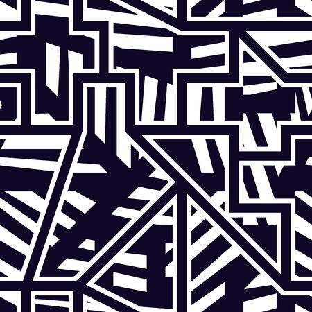 Modern seamless pattern. Geometric pop art style surface print. Repeated striped geo shapes motif. Contemporary creative design texture. Vector graffiti artistic background