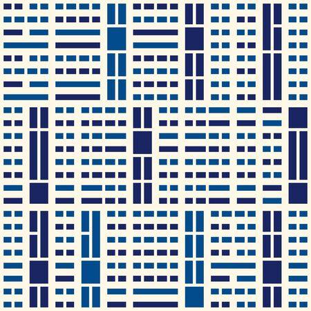 Geometric seamless pattern. Bauhaus style background. Modular grid print. Straight stripe, line, stroke, rectangle, block ornament. Trendy contemporary geo wallpaper. Modern abstract vector design