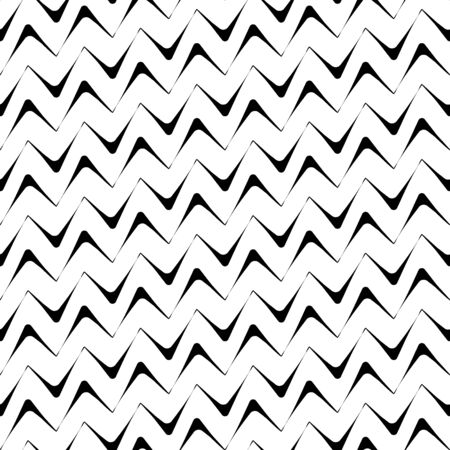Diagonal zigzag lines seamless pattern. Angled jagged stripes ornament. Linear waves motif. Curves print. Striped background. Tilted broken line shapes wallpaper. Slanted wavy stripe figures. Vector.