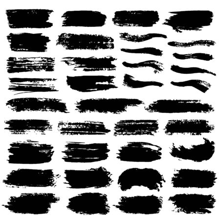 Brush stroke collection. Hand drawn black ink, paint, brushstroke smears set. Various freehand texture isolated on white background. Grunge concept design element group. Vector abstract decoration Illustration