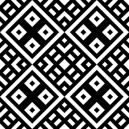 Tribe motif. Ethnic wallpaper. Ancient mosaic. Ethnical folk image. Tribal ornament. Embroidery background. Digital paper, web design, textile print, backdrop. Seamless abstract art. Vector artwork.