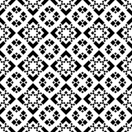 Seamless pattern with ethnic ornament. Embroidery background. Tribal wallpaper. Ethnical folk image. Tribe motif. Ancient mosaic. Digital paper, web design, textile print, backdrop. Vector art work.