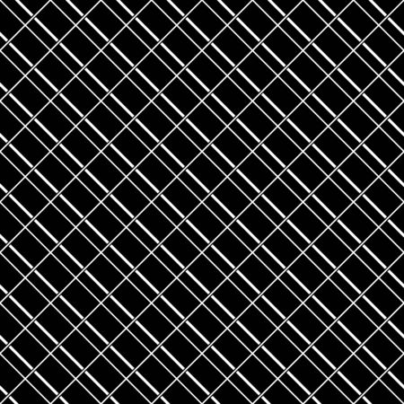 Seamless surface pattern with strokes and crossed lines ornament. White diagonal stripes grill on black background. Grid motif. Linear wallpaper. Striped image. Digital paper for print. Vector art.