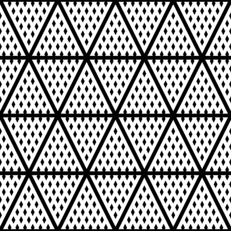 White triangles on black background. Black lines and mini diamonds ornament on white back. Surface pattern design with geometric shapes. Rhombusees and stripes wallpaper. Ornamental motif. Print paper