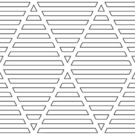 Strokes wallpaper. Seamless surface pattern design with linear ornament. Broken lines motif. White zigzag lines on striped background. Digital paper with dashed stripes for textile print. Vector art.