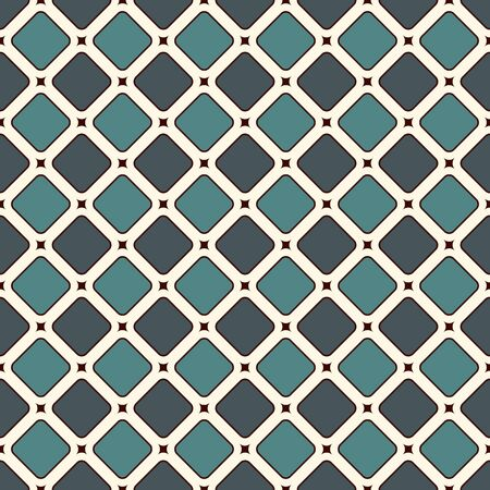 Contemporary geometric pattern. Repeated squares, diamonds motif. Simple ornament. Modern abstract background. Seamless surface design. Geo wallpaper. Digital paper, textile print. Vector art