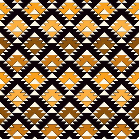 Ethnic, tribal seamless pattern. Native americans embroidery textile stylized surface print. Boho chic ornament. Repeated triangles geometric background. Mosaic wallpaper. Vector abstract Illustration