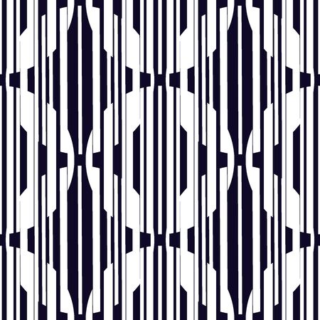 Openwork seamless pattern. Repeated hatched lines, overlapping circles surface print. Mixed texture geometric background. Round links, vertical stripe, stars motif. Delicate abstract vector ornament Ilustración de vector