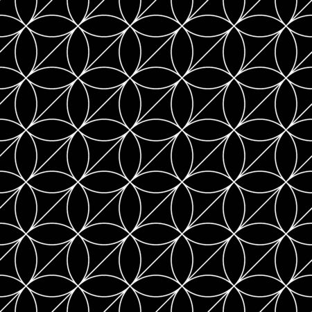 Black figures tessellation on white background. Image with ovals and triangular blocks. Ethnic tiles motif. Seamless surface pattern design with circular ornament. Mosaic pavement wallpaper. Vector.