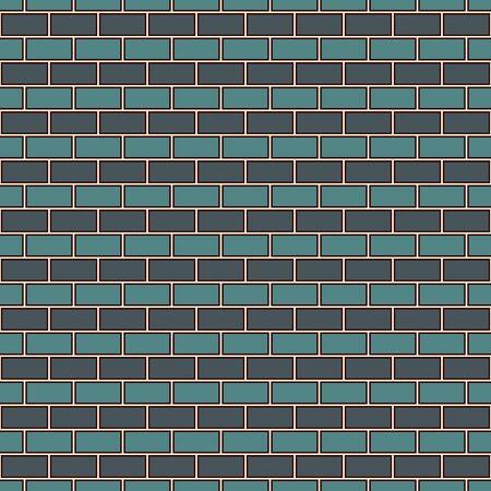 Brick wall abstract background. Blue colors seamless pattern with classic geometric ornament. Bricks motif. Repeated rectangular blocks. Digital paper, textile print. Vector art Ilustração