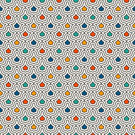Interlocking figures tessellation abstract background. Repeated geometric shapes. Ethnic mosaic tiles ornament. Oriental wallpaper. Seamless surface pattern design with crowns motifs. Vector art.