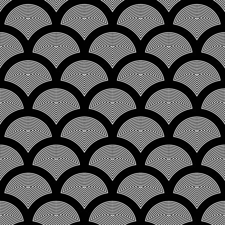 Fish scale wallpaper. Asian traditional ethnic ornament with repeated scallops. Repeated white figures on black background. Seamless surface pattern design with scales. Squama motif. Digital paper. Illustration