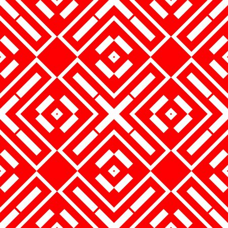 White repeated geometric figures on red background. Seamless surface pattern design with symmetrical rhombuses, rectangles and crosses ornament. Polygons wallpaper. Geometrical motif. Digital paper.