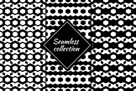 Hexagons, figures seamless patterns collection. Geometrical images. Folk prints. Ethnic ornaments set. Tribal wallpapers kit. Geometrical backgrounds. Retro motif. Abstract vectors bundle. 벡터 (일러스트)