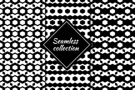 Hexagons, figures seamless patterns collection. Geometrical images. Folk prints. Ethnic ornaments set. Tribal wallpapers kit. Geometrical backgrounds. Retro motif. Abstract vectors bundle. Векторная Иллюстрация