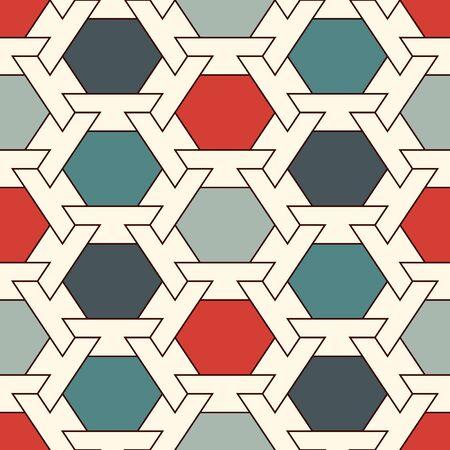Contemporary honeycomb geometric pattern. Repeated hexagon ornament. Modern mosaic tiles background. Seamless surface abstract design. Geo wallpaper. Digital paper, textile print. Vector illustration Vektorgrafik