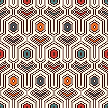 Ethnic seamless surface pattern. Repeated interlocking geometric figures. Tribal wallpaper. Native americans ornamental abstract background. Geo digital paper, textile print. Vector art Illustration