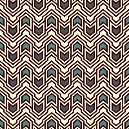 Seamless pattern with arrows and pointers. Repeated chevrons wallpaper. Tribal and ethnic motif. Native americans ornamental abstract background. Boho chic digital paper, textile print. Vector art Ilustración de vector