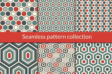 Honeycomb, hexagon seamless pattern collection. Geo design background set. Classic geometric mosaic tiles print kit. Ornament abstract vector bundle. All ornaments were added in swatches palette Vectores