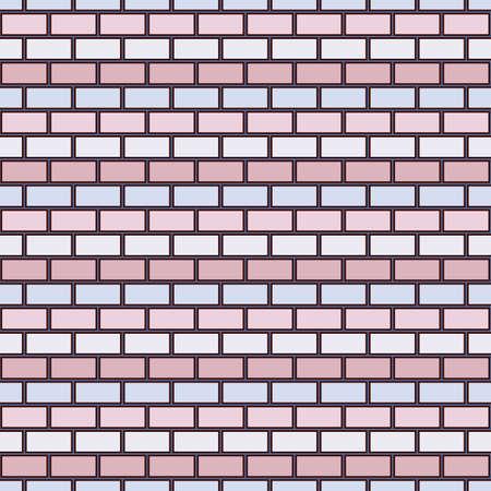 Brick wall abstract background. Light colors seamless pattern with classic geometric ornament. Bricks motif. Repeated rectangular blocks. Digital paper, textile print. Vector art