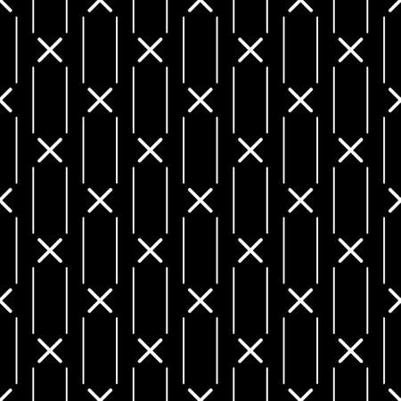 Lines, crosses seamless pattern. Stripes, symbols print. Ethnic illustration. Linear background. Abstract ornament. Line, cross shapes backdrop. Strokes, signs wallpaper. Textile print, vector work Иллюстрация