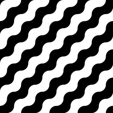 Seamless diagonal wavy lines. Jagged stripes. Surface pattern design with sine waves ornament. Repeated slant curves wallpaper. Circular waveforms motif. Striped image. Digital paper. Linear vector.