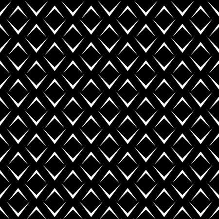 Repeated white angle brackets on black background. Seamless pattern design. Chevrons abstract artwork. Curves ornament. Image with scales. Modern japanese scallops motif. Squama image. Art deco vector Stock Illustratie