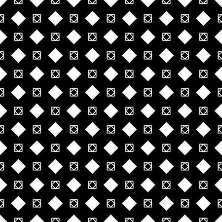 Rhombuses, squares on black background. Seamless surface pattern design with diamonds ornament. Checks wallpaper. Ethnic mosaic motif. Digital paper for textile print, page fill, web designing. Vector Vector Illustratie