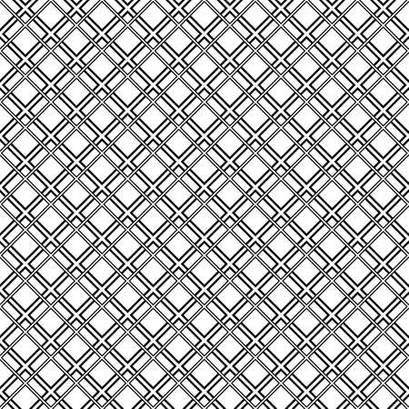Seamless surface pattern with diamond contours ornament. Black rhombuses outlines on white background. Grid motif. Grill wallpaper. Checkered image. Digital paper, print. Rhomboid grille vector.