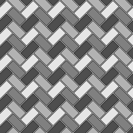 Herringbone pattern. Rectangles slabs tessellation. Seamless surface design with slanted blocks tiling. Floor cladding bricks. Repeated tiles ornament background. Mosaic motif. Pavement wallpaper.
